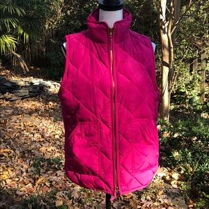 J. Crew pink quilted puffer vest size Medium